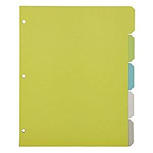 Office by Martha Stewart™ Binder Dividers, 5 Tab, Letter Size, Multi-Colored Plastic (28753)