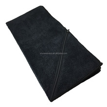 Best Black Microfiber Workout Travel Fit Gym Towel with Zipper Pocket