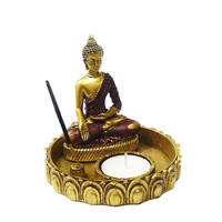 Resin Gold Buddha with T-light Candle Holder Meditation Statue