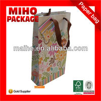 printed paper wine bag/wholesale paper wine bags/custom printed wine bottle paper bags