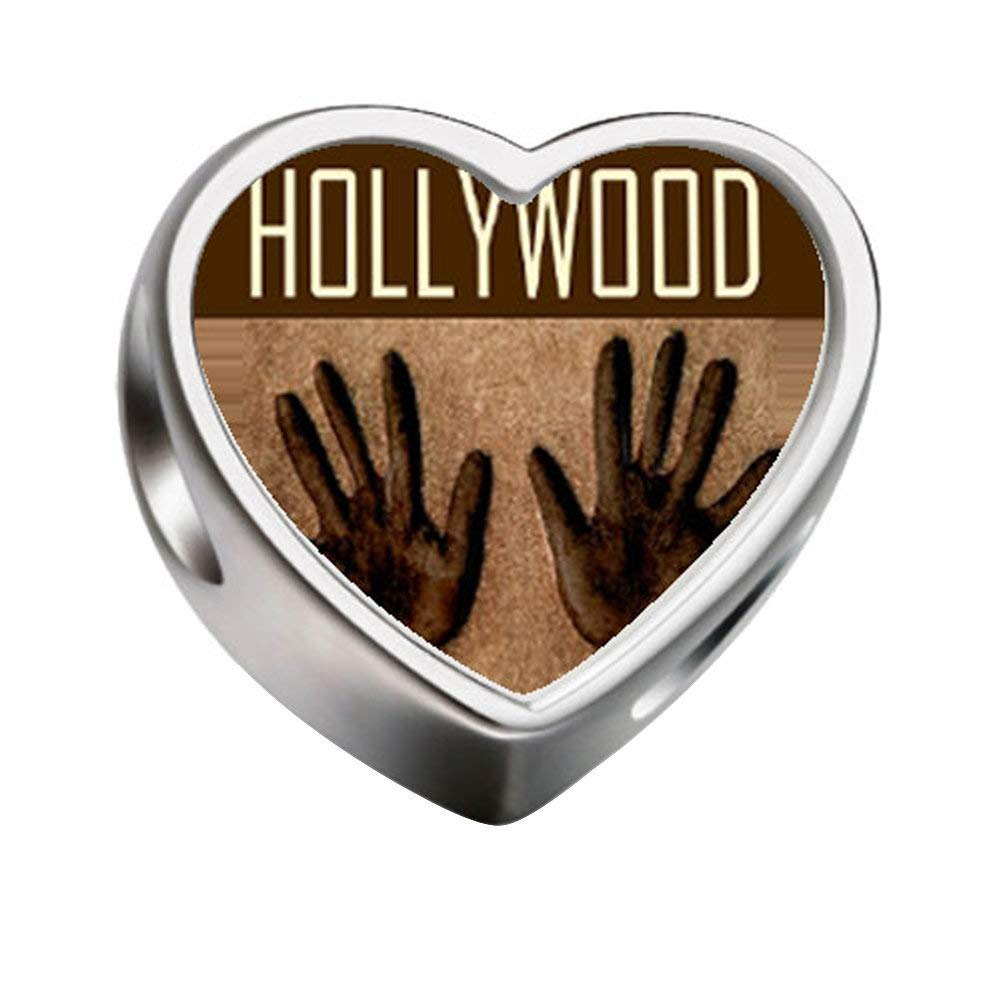 FERVENT LOVE Charms Hollywood Travel Photo Heart Charm Beads Fit Charm Bracelet Necklace