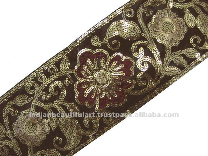 Wide Dark Brown Fabric Embroidery Gold Sequin Trim 9 Yd