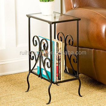 Living Room Scrolled Iron And Gl Magazine Table Sofa Side