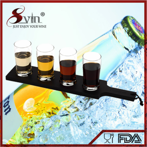 Beer Tasting Flight Set Beer Paddle and 4 Mini Glasses Set