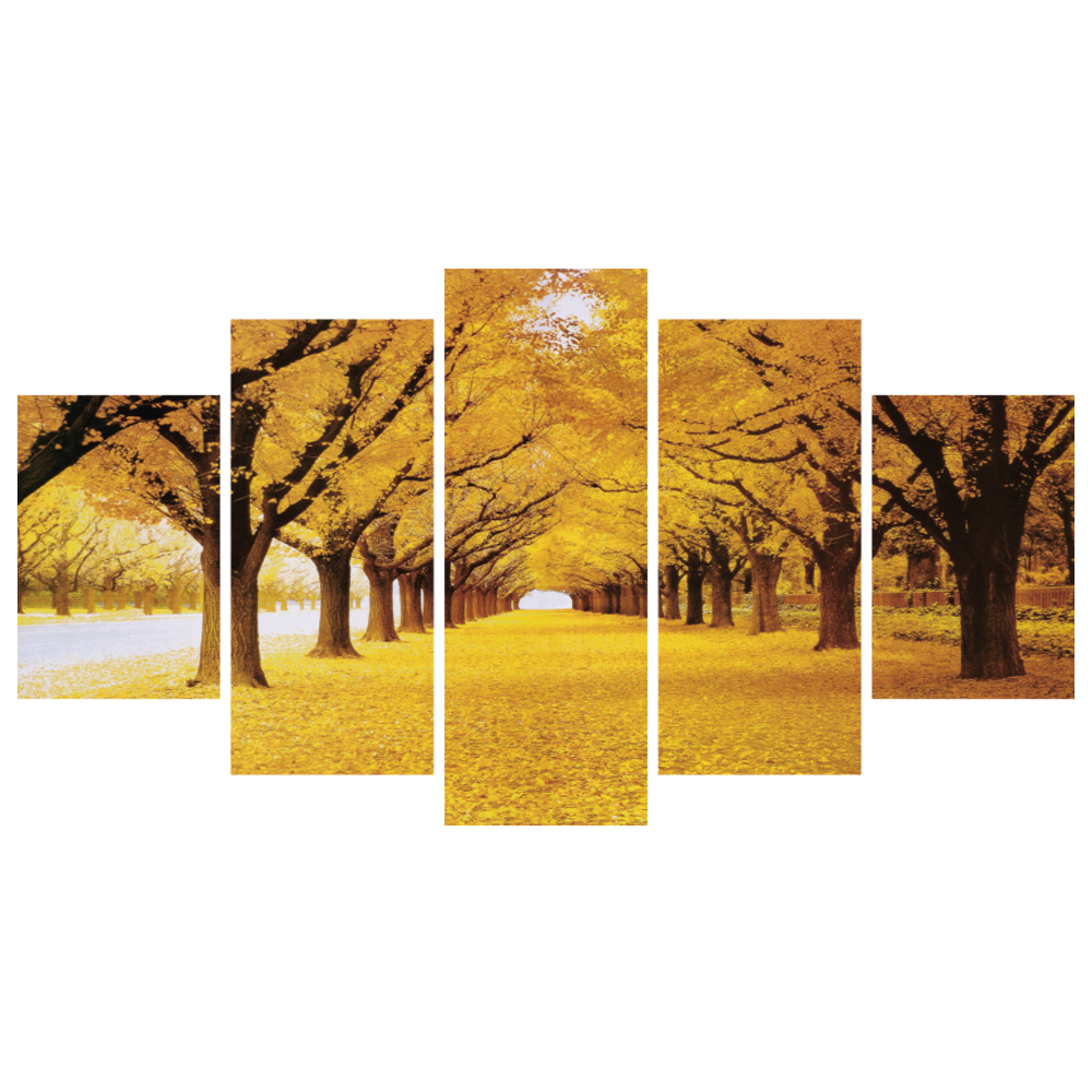 Best Seller 5 Piece HD Printed Canvas Prints fallen leaves gold Wall Art Painting <strong>Pictures</strong> for Home Decor