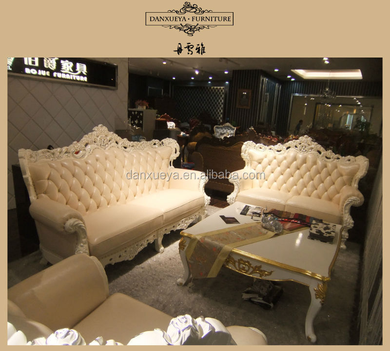 2014 New post antique style pearl white leather sofa set View cheap