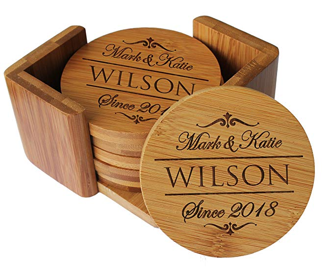 Custom Logo Print Blank Cork Wooden Bamboo Coaster 5