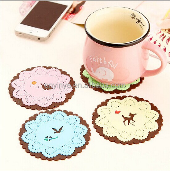 High quality injection rubber coaster lace design 2d silicone coaster soft pvc coasters