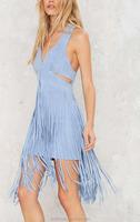 OEM service factory suede cloth light blue colour dress