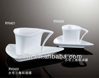 Unique Design Triangle Shape Porcelain Coffee Cup Set Espresso Cuccino