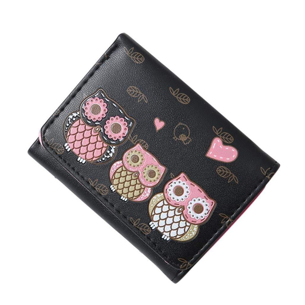 Women Wallet, Koolee Retro Owl Printing Short Wallet Simple Coin Purse Card Holders Bag (Black)