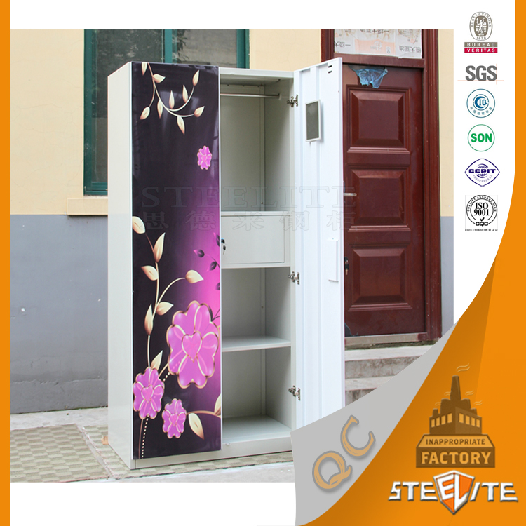India Printing Pattern Design Bedroom Furniture Metal Cloth Almirah Kids Locker