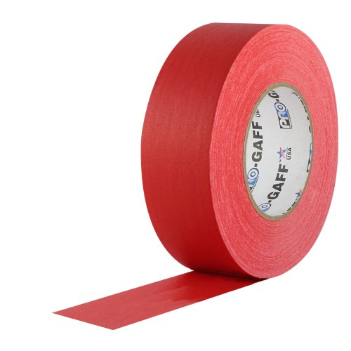 """ProTapes Pro Gaff Premium Matte Cloth Gaffer's Tape With Rubber Adhesive, 11 mils Thick, 55 yds Length, 2"""" Width, Red (Pack of 1)"""