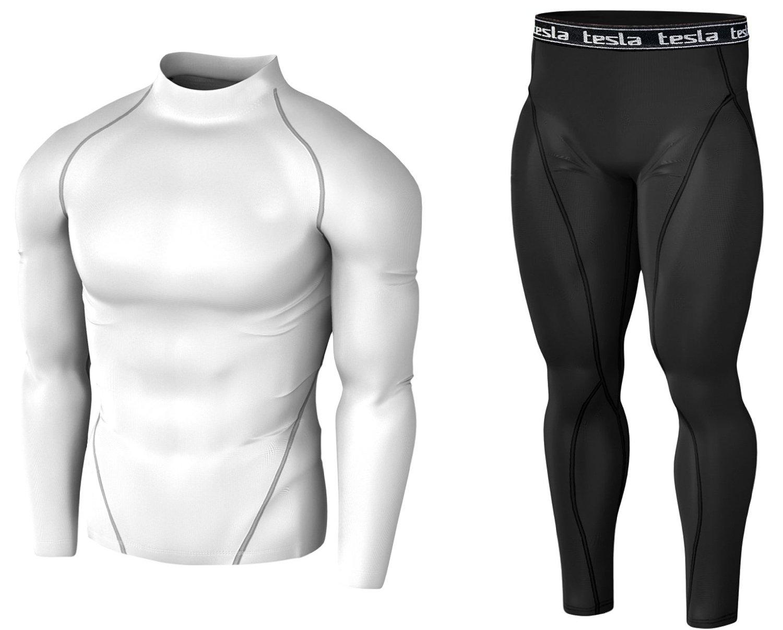 Get Quotations · Tesla Men s Compression Under Base Layer Gear Wear 1 Shirt    1 Pant Set 0849776ab