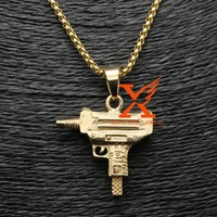 Supreme Uzi Machine Gun Engraved Pendant Gold Plated Stainless Steel Jewelry