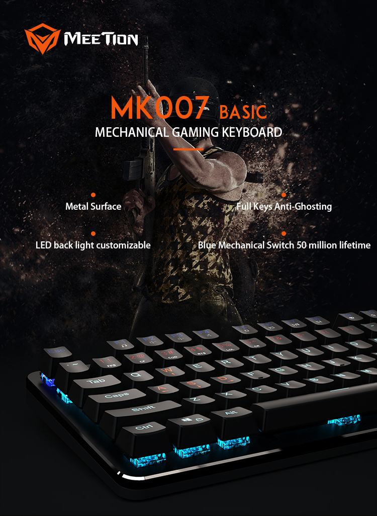 2019 High quality macro mechanical switch wired USB PC gamer Gaming Mechanical Keyboard