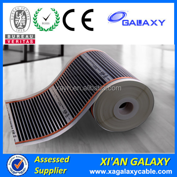 Energy Conservation Living Cement or Wood Floor 220V Flexible Laminate Electric underfloor PTC anti fog Carbon Heating Film