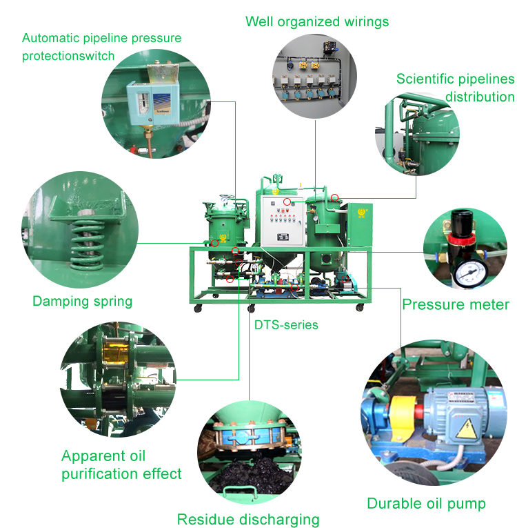 Automatic vaccum used engine oil refining machine/ Black lube oil recycling system