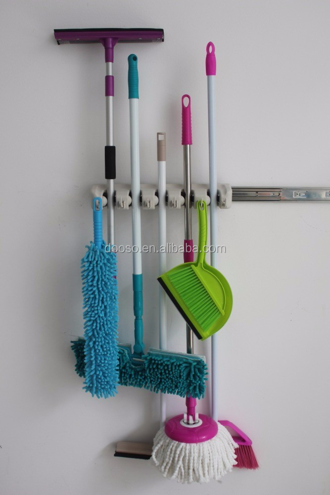 Cleaning Mop Amp Broom Wall Rack Of Holder Clip 5 Hooks 4