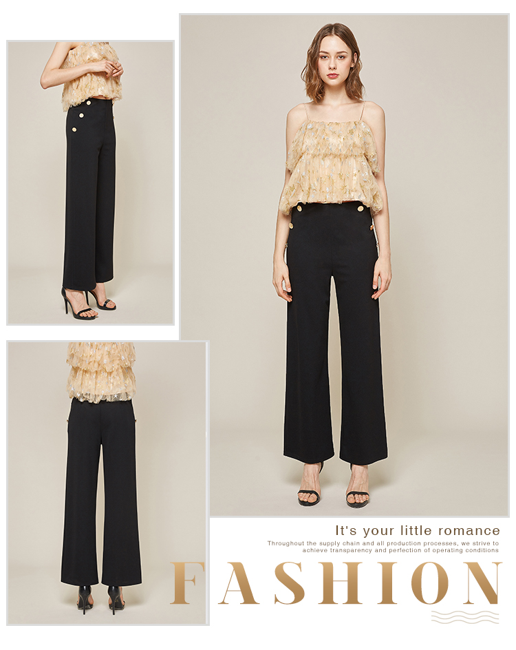 2019 New Design Knitted Woman Black Long Casual Fashion Wild Shown Wide Leg Pants