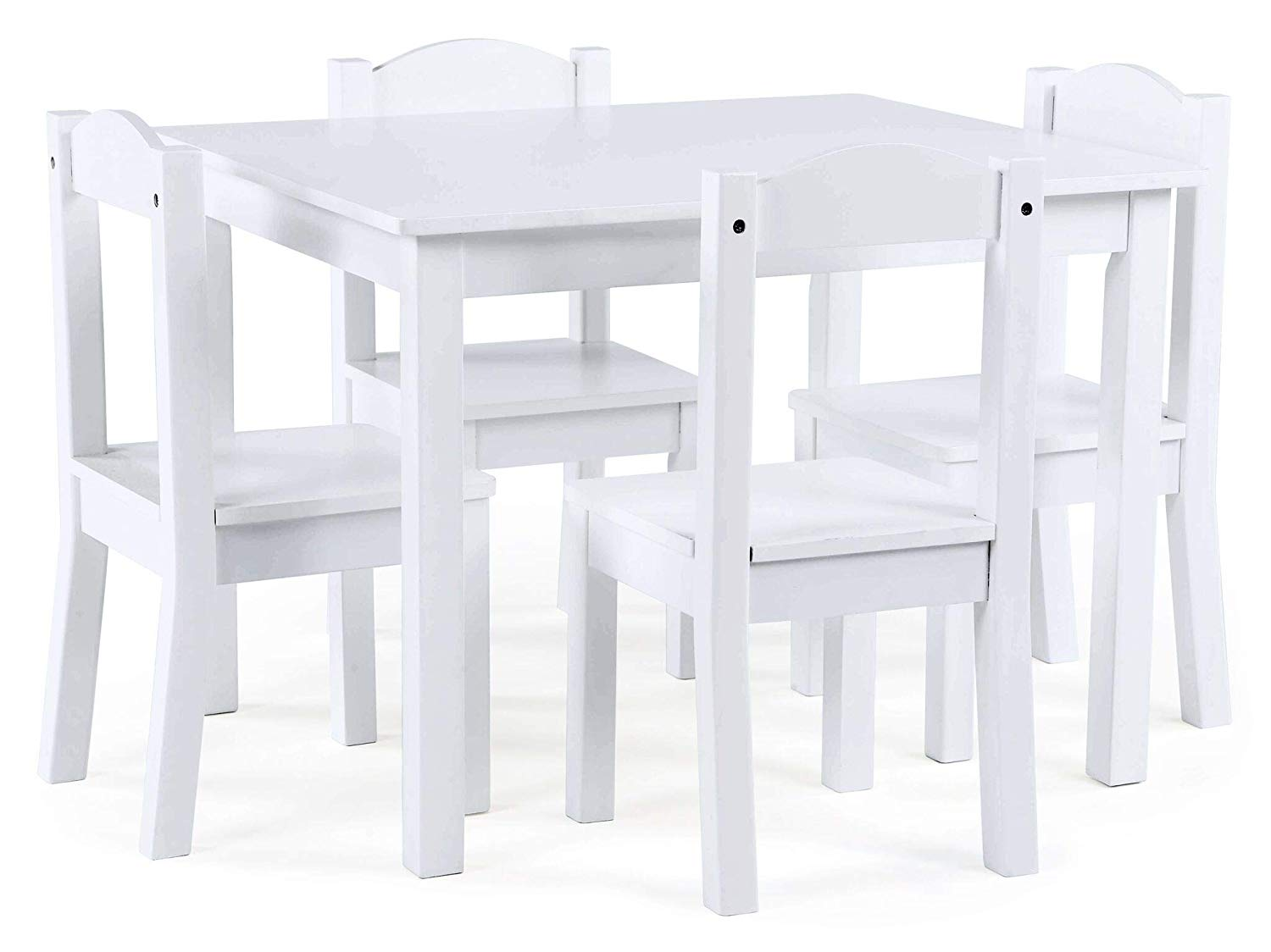 Get quotations · white finished kids wood table and 4 chairs set sturdy engineered wood construction kids set