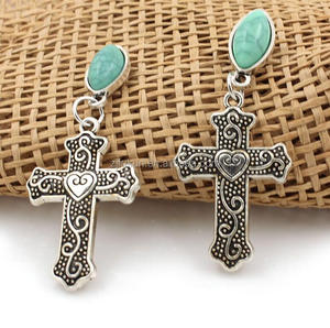 new style antique silver cross turquoise earings for party