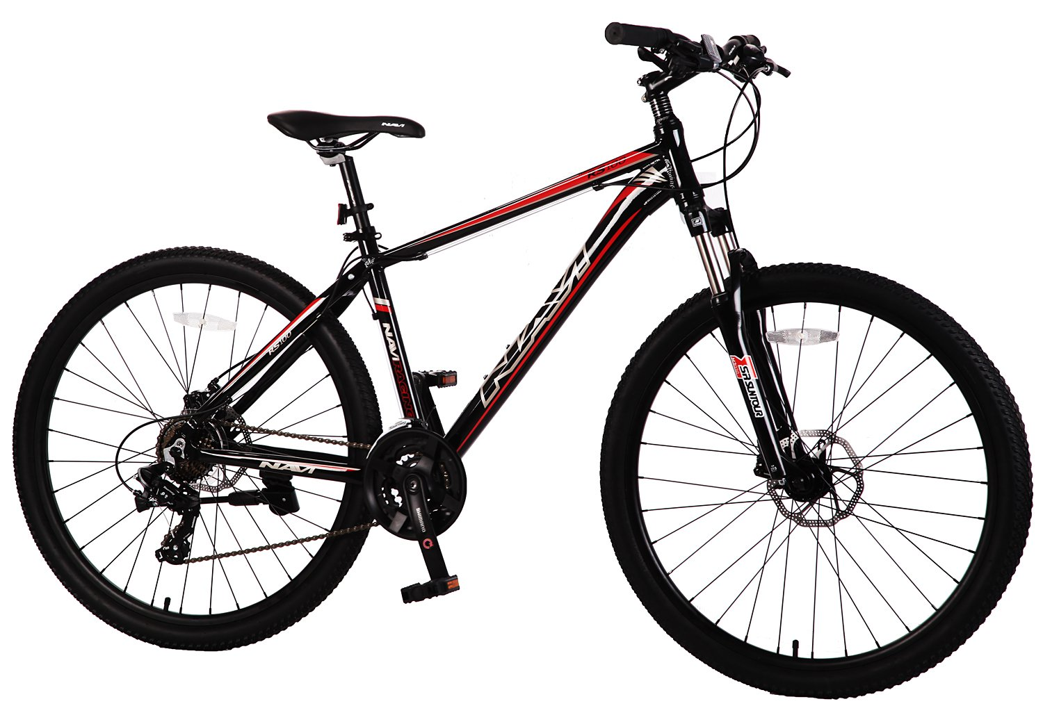 "Navi RS100 Hardtail Mountain Bike, Aluminum Alloy Frame, Disc Brakes, Shimano Tourney 21-speed, 27.5"" Wheel Mountain Bike (BLACK / RED)"