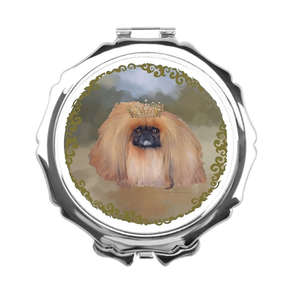 AbbyDay Pearl Compact Mirror Maggie Ross Pekingese Engraved Compact Mirror Makeup Mirror Vanity Pekinese Dogs Mirror Makeup