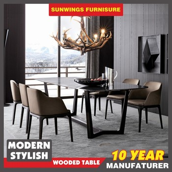 Good Price Foshan Furniture Italian Marble Top Dining Table Set With Solid Wood Leg