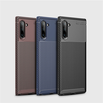For Samsung Galaxy Note 10 TPU Phone Case Carbon Fiber Brushed Protective Case