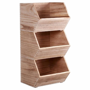Natural Small Stackable Wooden Bin