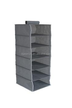 2017 Hot Selling MDF Non Woven Plastic Pocket Hanging Organizer 6 Shelf  Hanging Closet Organizer