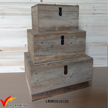 Old Wood Antique Wooden Chest Set Rustic Trunks