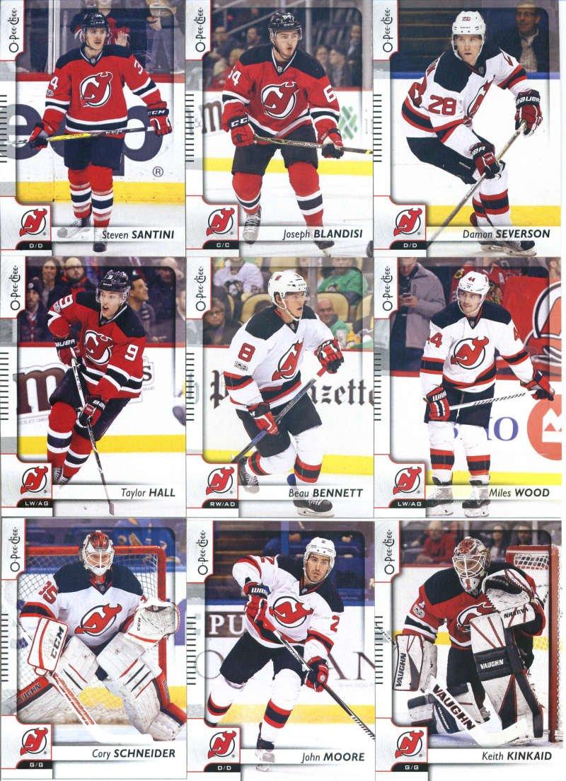 2017-18 O-Pee-Chee Hockey New Jersey Devils Team Set of 16 Cards: Adam Henrique(#35), Devante Smith-Pelly(#52), Michael Cammalleri(#98), Pavel Zacha(#109), Kyle Palmieri(#171), Stefan Noesen(#190), Travis Zajac(#228), Cory Schneider(#256), John Moore(#288), Keith Kinkaid(#324), Taylor Hall(#343),