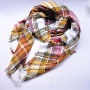 100% acrylic cashmere feel plaid tartan stole shawl square scarves wholesale