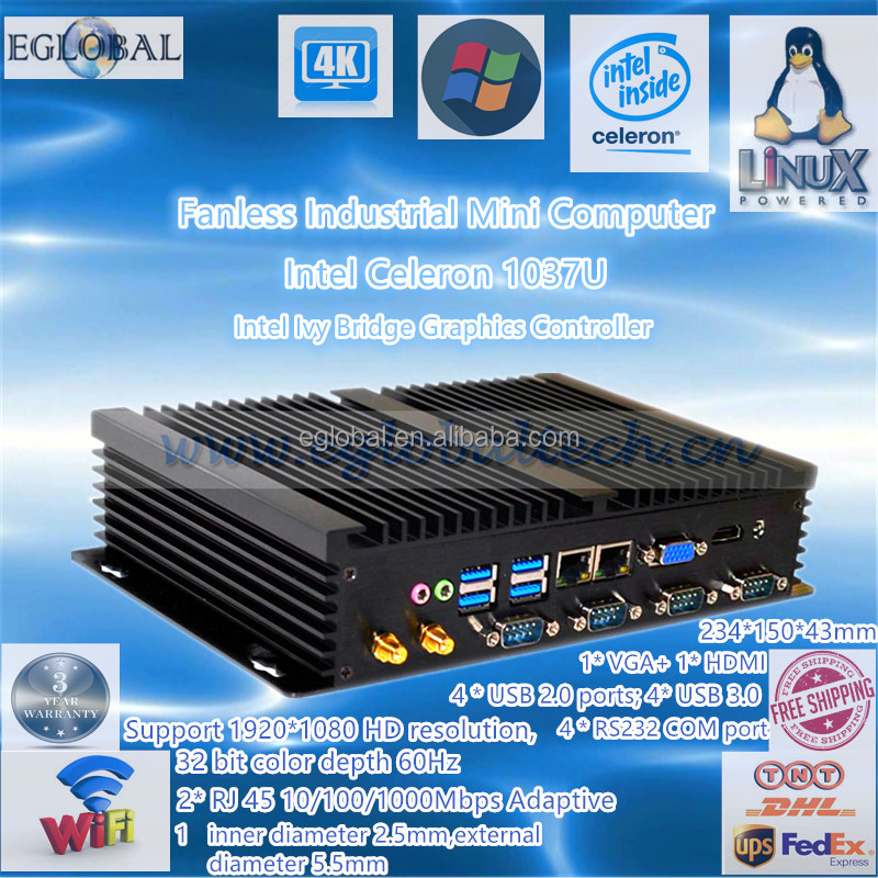 Mini Desktop Fanless Industrial PC With Intel Core Celeron 1037U 4GB DDR3 128GB SSD 2*USB3.0 2*RJ45 4*RJ232 Dual Antenna