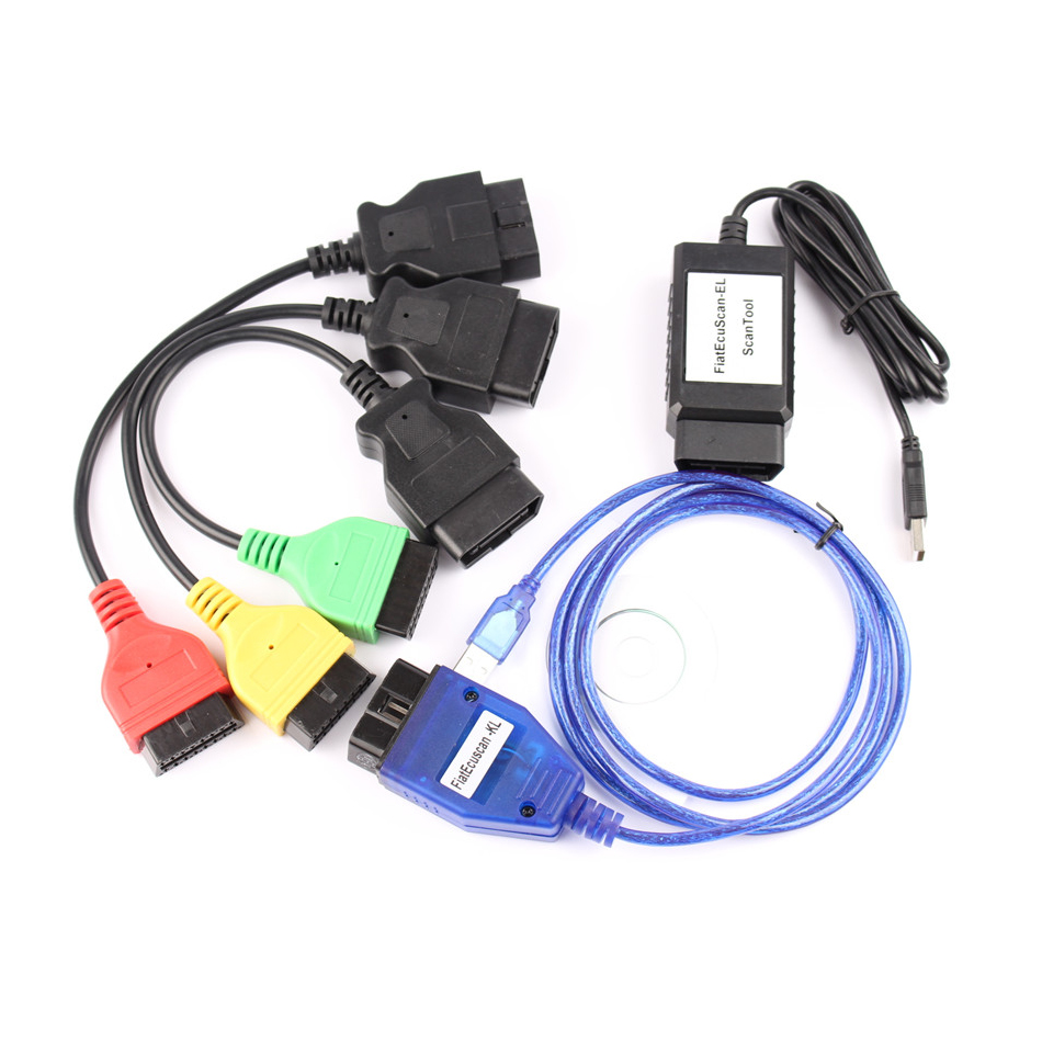 High Quality For Fiat Ecu Scan full set 4 Adaptors For Fiat Connector OBD2 16Pin OBD Diagnostic Cable for Fiat Four Colors
