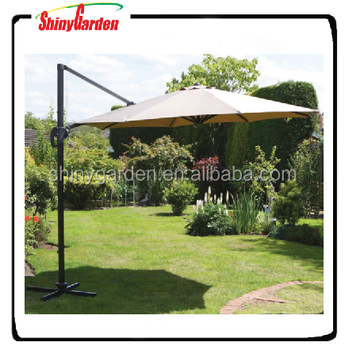 10ft Aluminium Hanging Offset Roma Outdoor Patio Umbrella Cantilever With Base
