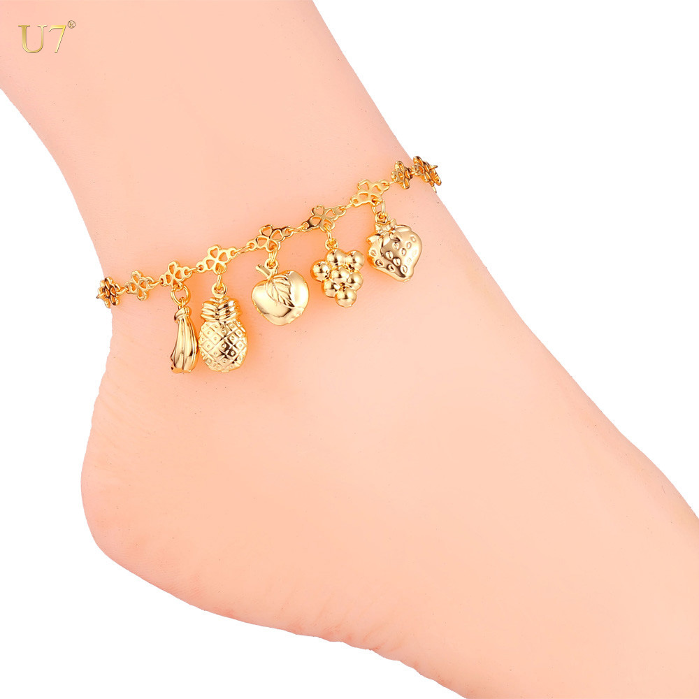 U7 silver color / gold plated foot jewelry barefoot sandals anklet for girls