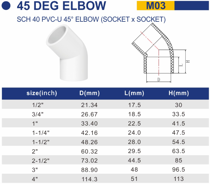 1/2'' SCH 40 PVC-U equal 135 degrees elbow