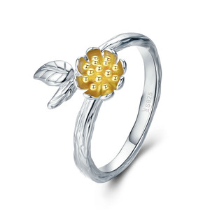SCR302 100% 925 Sterling Silver Yellow Daisy Flower Leaves Adjustable Finger Rings for Women Sterling Silver Jewelry