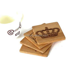 Natural wood coaster holder with engraved logo