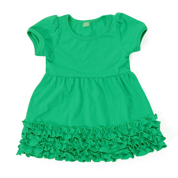 e1aab7490c87 Grass Green Solid Color Short Sleeve Cotton Ruffle Bottom Girls Puffy  Dresses