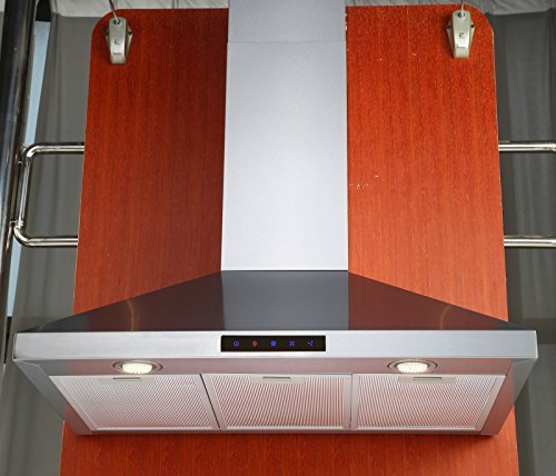 Kitchen Bath Collection 30-inch Wall-mounted Stainless Steel Range Hood with Touch Screen Control Panel, Capable of Vent-less Operation. High-end LED Lights Over 3x Brighter Than Competing Models