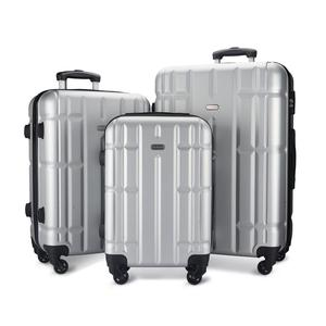 2019 Hot Design Luggage ABS Trolley Suitcase Set 3pcs Silver Customize Hard Case Travelling Bags Luggage