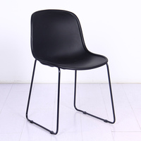 2019 Stackable dining chair modern home using fast food restaurant chair plastic seat with metal legs