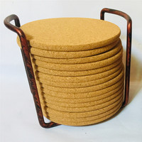 XS ltd. Fast Shipping Metal holder Round Blank Printed Absorbent cork coaster Set