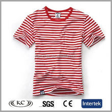 2017 custom print 100 organic combed cotton 160gsm women red striped causal t shirt wholesale