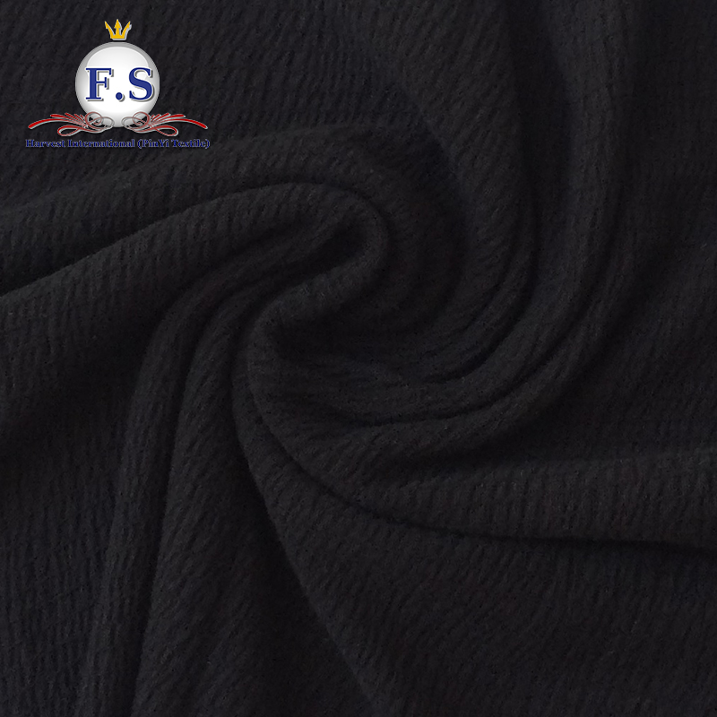 Pure Crepe knit fabric poly/spandex 99/1 in black color for dress