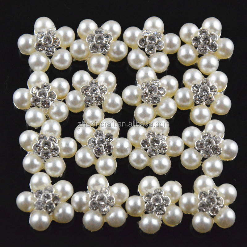 14mm Crystal Rhinestone and pearl embellishment Brooch decorations